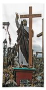 Jesus On The Hill Of Crosses. Lithuania Beach Towel
