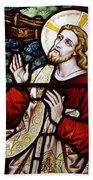 Jesus Stained Glass Beach Towel