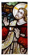 Jesus Stained Glass Beach Towel