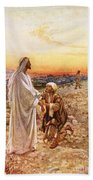 Jesus Withe The One Leper Who Returned To Give Thanks Beach Towel