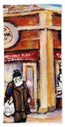 Jewish Montreal Vintage City Scenes Fish Market On Roy Street Beach Towel