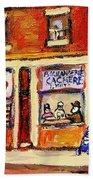 Jewish Montreal Vintage City Scenes Hutchison Street Butcher Shop  Beach Towel