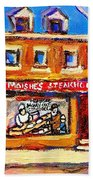 Jewish Montreal Vintage City Scenes Moishes St. Lawrence Street Beach Towel