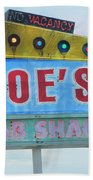 Joe's Crab Shack Retro Sign Beach Towel