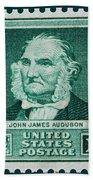 John James Audubon Postage Stamp Beach Towel