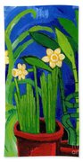 Jonquils And Bamboo Plant Beach Towel