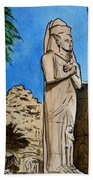 Karnak Temple Egypt Beach Towel by Irina Sztukowski