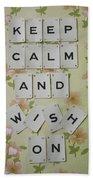 Keep Calm And Wish On Beach Towel