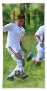 Kicking Soccer Ball Beach Towel