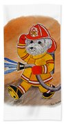 Kids Art Firedog Firefighter  Beach Towel