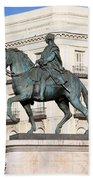 King Charles IIi Statue In Madrid Beach Sheet