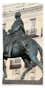 King Charles IIi Statue On Puerta Del Sol Beach Sheet