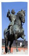 King Philip IIi Statue In Madrid Beach Sheet