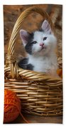 Kitten In Basket With Orange Yarn Beach Towel