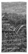 Knobels Wooden Roller Coaster Black And White Beach Towel