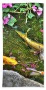 Koi Fish Poses Beach Towel