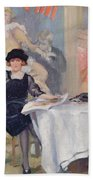 Lady At A Cafe Table  Beach Towel
