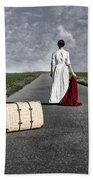 Lady On The Road Beach Towel