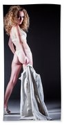 Lady With A Coat Beach Towel