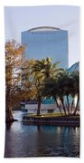 Lake Eola's  Classical Revival Amphitheater Beach Towel by Lynn Palmer