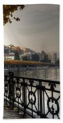 Lake Front With Autumn Trees Beach Towel