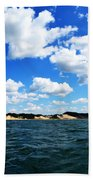 Lake Michigan Shore With Clouds Beach Towel by Michelle Calkins