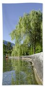 Lakefront With Trees Beach Towel