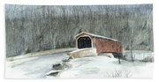 Lancaster County Covered Bridge In The Snow  Beach Sheet