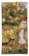 Landscape With A Woman In Blue Beach Towel by Pierre Auguste Renoir