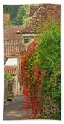 Lane And Ivy In St Cirq Lapopie France Beach Towel