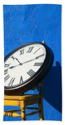Large Clock On Yellow Chair Beach Towel
