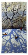Large Tree And Tobogganers Beach Towel by Andrew Macara