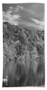 Late Afternoon At The Lake - Bw Beach Towel