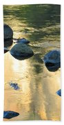 Late Afternoon Reflections In Merced River In Yosemite Valley Beach Towel