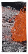Lava Bursting At Edge Of Active Lava Beach Towel