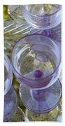 Lavender Wine Glasses Beach Towel
