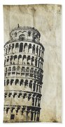 Leaning Tower Of Pisa On Old Paper Beach Towel by Setsiri Silapasuwanchai
