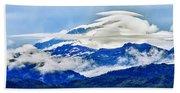 Lenticular And The Chugach Mountains Beach Sheet