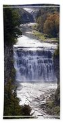 Letchworth State Park Middle Falls With Watercolor Effect Beach Towel