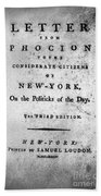 Letter From Phocion, 1784 Beach Towel