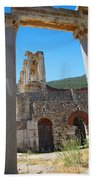 Library Of Celsus And Columns Beach Towel