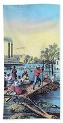 Life On The Mississippi, 1868 Beach Towel by Photo Researchers