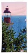 Lighthouse And Sailboats Beach Towel