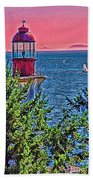 Lighthouse Hdr Beach Towel