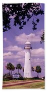 Lighthouse In Biloxi Mississippi Beach Towel