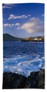 Lighthouse In The Distance, Fort Point Beach Towel