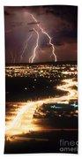 Lightning Storm Beach Towel