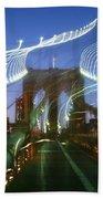 Lightwriting Brooklyn Bridge Beach Towel