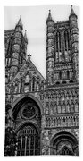 Lincoln Cathedral Facade Beach Towel