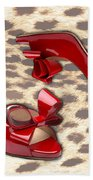 Little Red Bow Peep Toes Beach Towel
